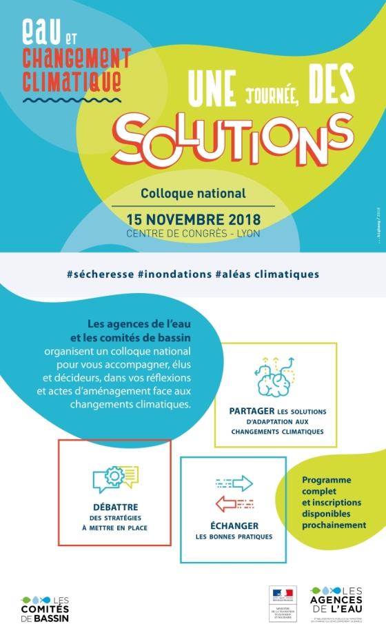 Vie pratique : 15 novembre 2018 : journée de l'Agence de l'Eau RMC sur le thème de l'eau et le changement climatique